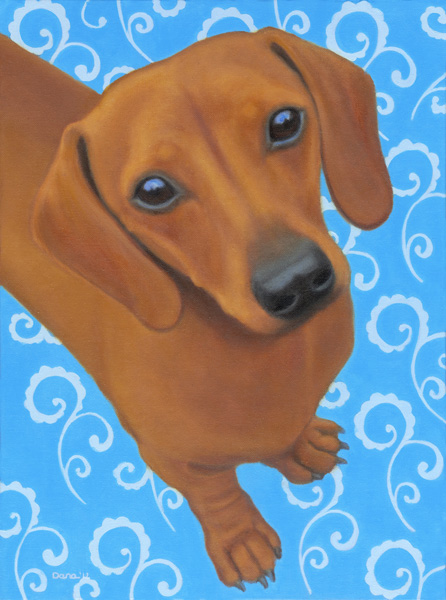 """Dreamy Doxie"", 24 x 18 oil by Dana Feagin, framed, $1125"