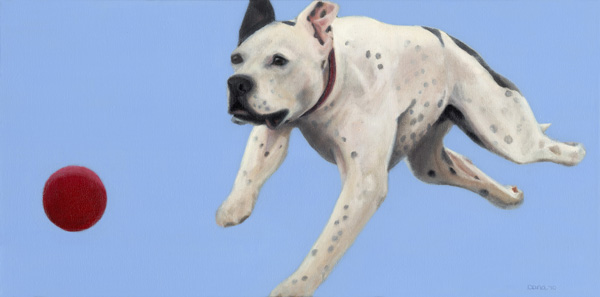 """It's Riley's Ball"", 12 x 24 oil by Dana Feagin, gallery wrapped canvas, $975"