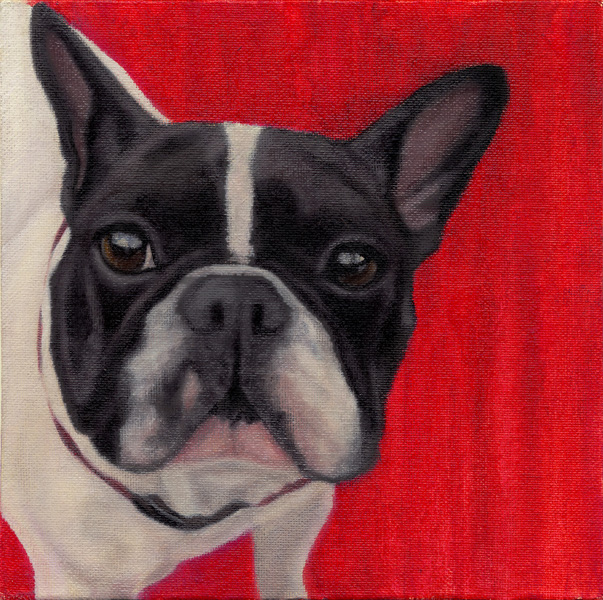 """Wide Eyed Red"", 8 x 8 oil by Dana Feagin, framed, $495"