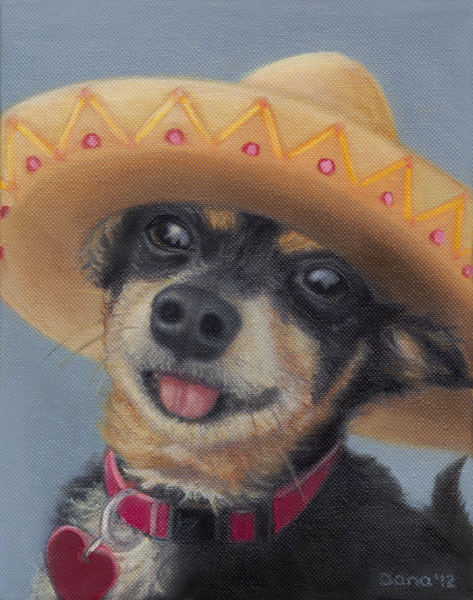 """Aye Chihuahua!"", 10 x 8 oil by Dana Feagin, Sold"