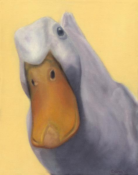 """""""PeekingPekin"""", 12 x 9 oil by Dana Feagin, Sold"""